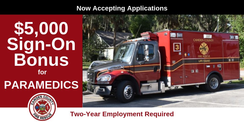 "Ambulance with ""Now Accepting Applications"" ""$5,000 Sign-On Bonus for Paramedics"" ""Tw"