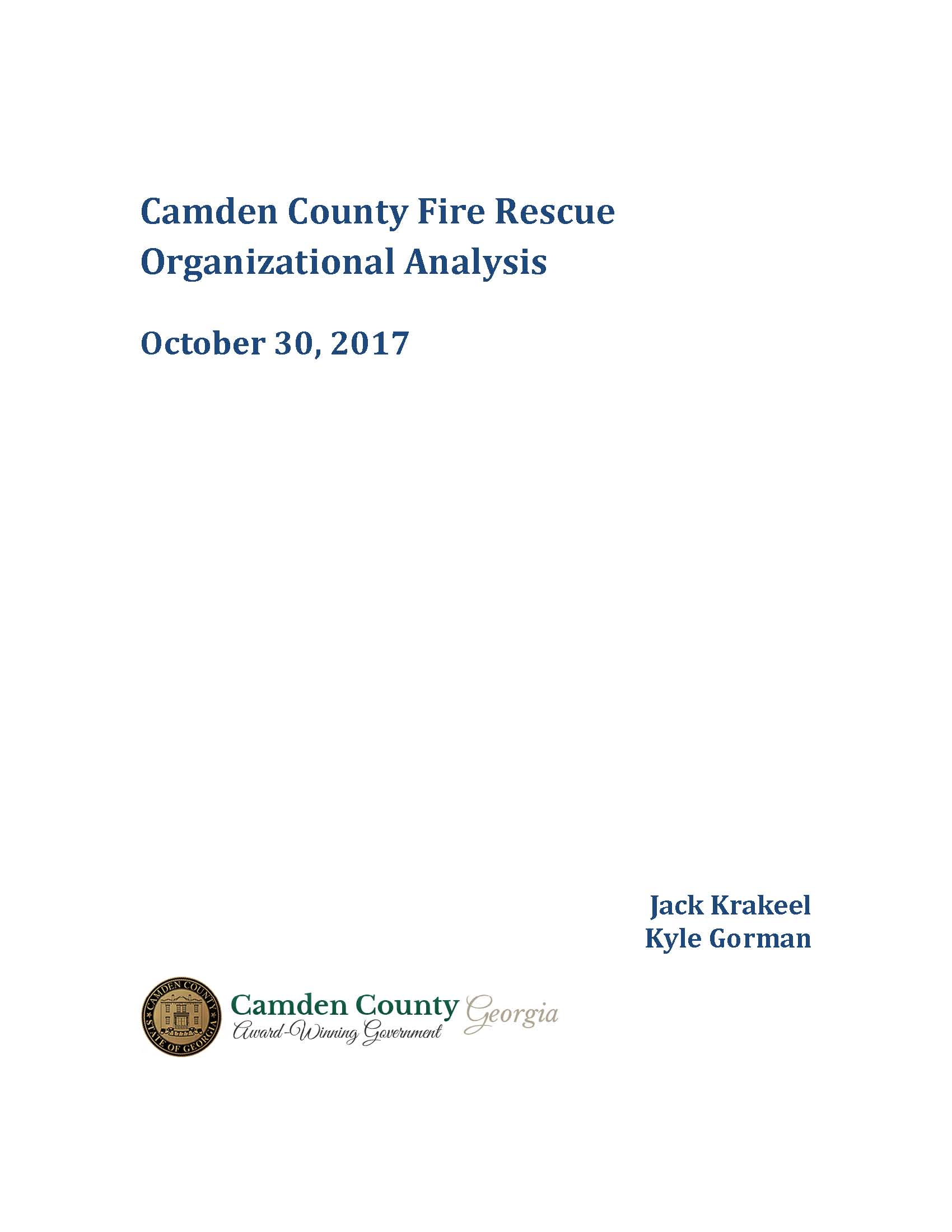 Camden County Fire Rescue Organizational Analysis