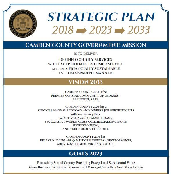 2018 Mission Vision Goals For Camden County