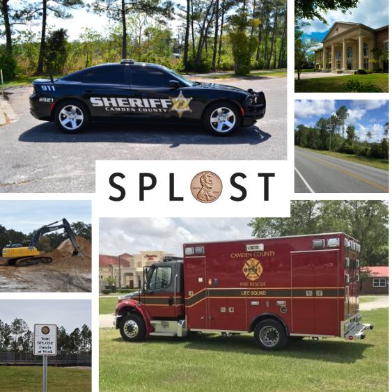 Images of SPLOST VII Projects including ambulance, Sheriff's Office patrol vehicle, and excavator