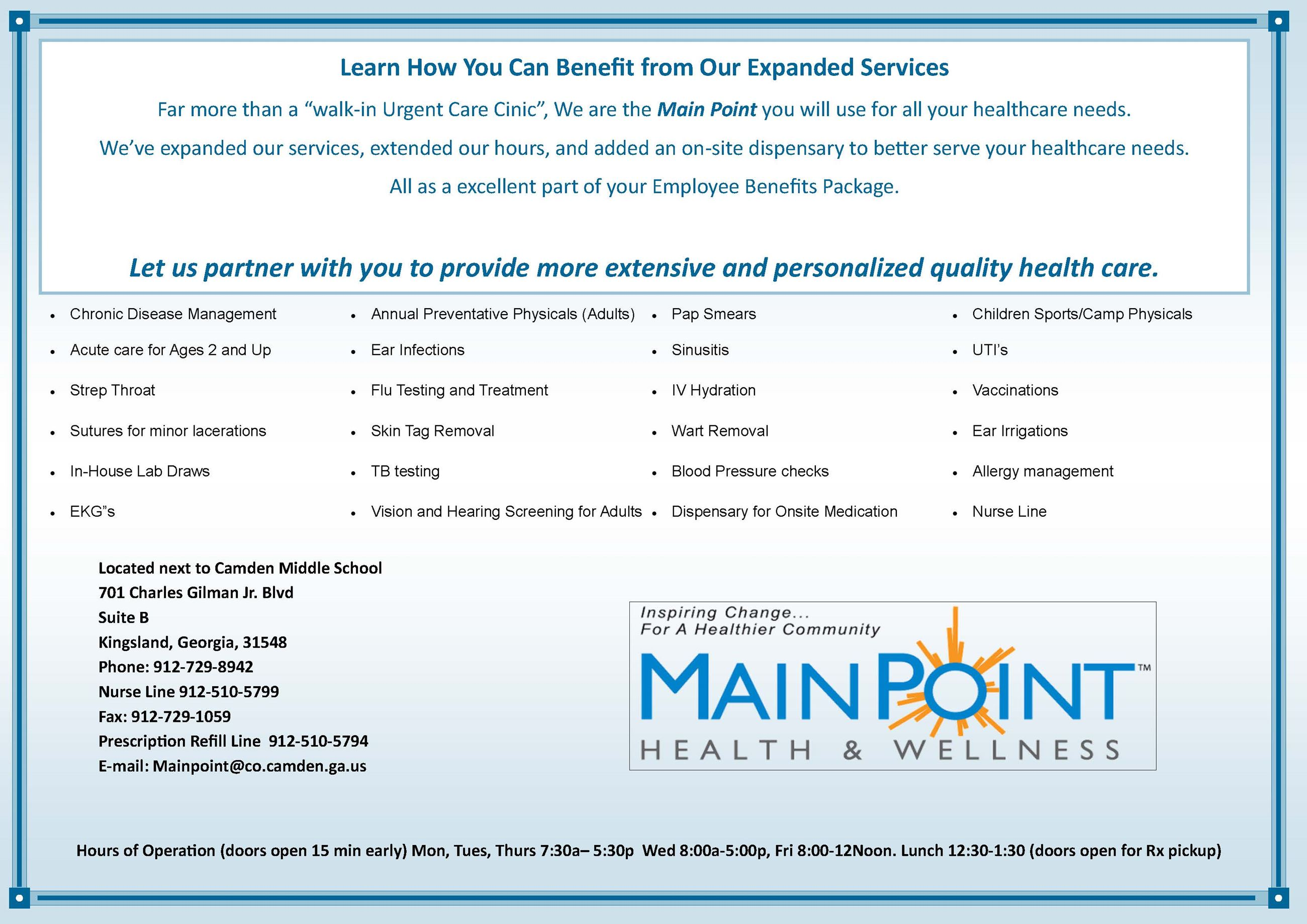 MainPoint Health & Wellness Informational Flyer Opens in new window