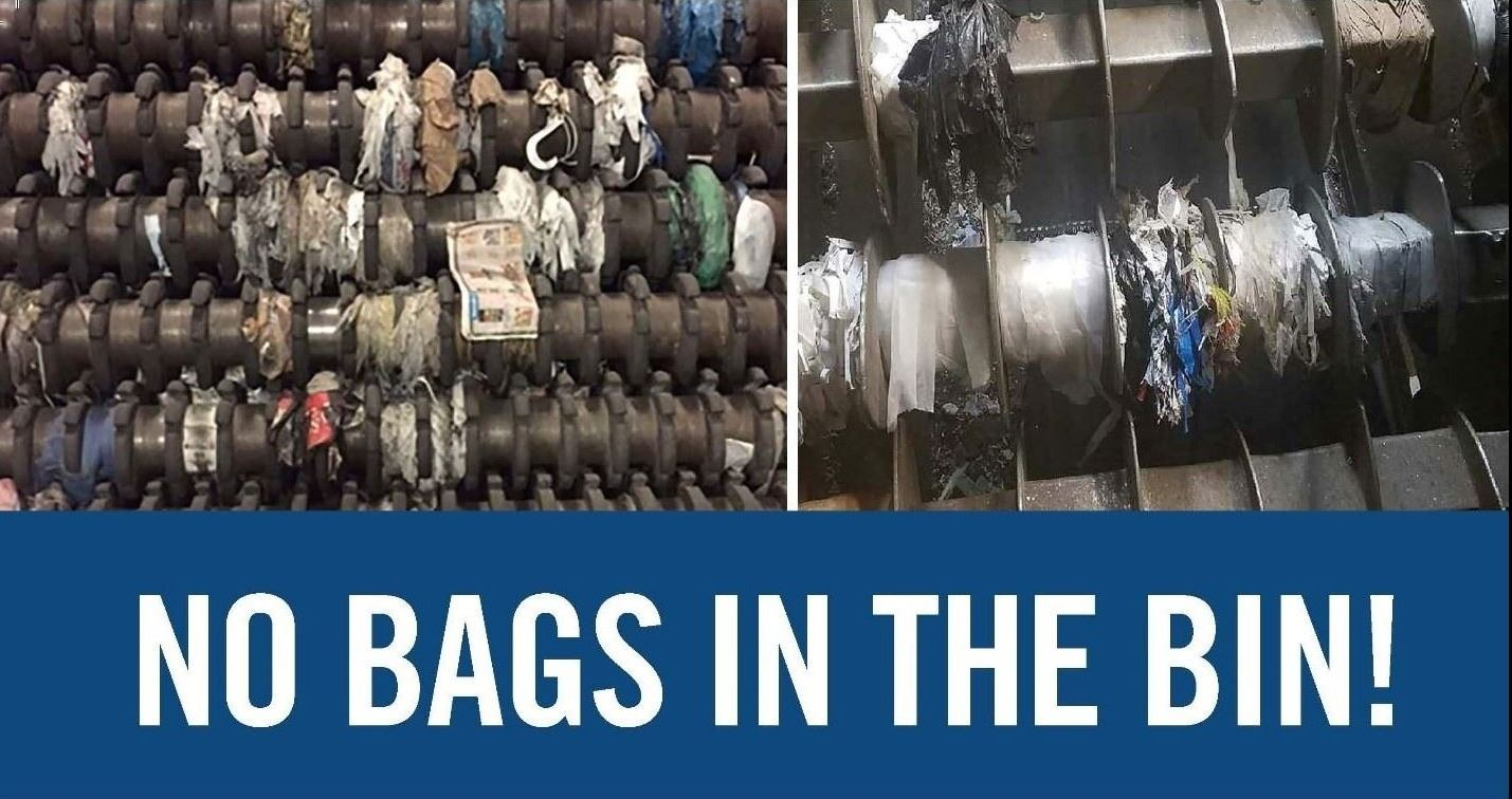 Image of plastic bags tangled in machinery